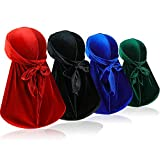 Samserot 4 Pieces Men Velvet Durag with Long Tail Silky Durag Headwraps for 360 Waves, Black+red+blue+green, One Size