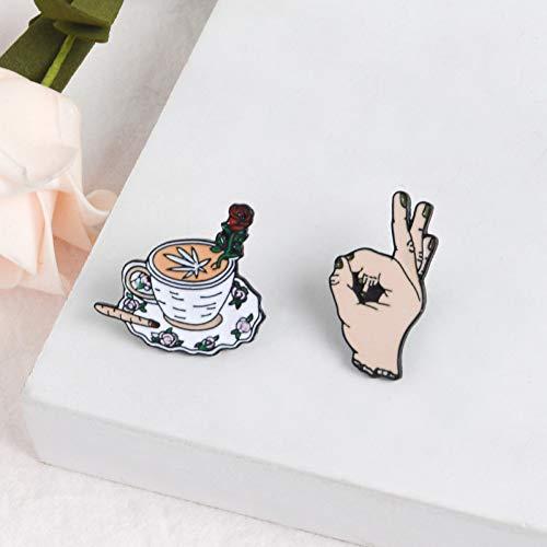 JTXZD broche OK! Horror Midden Vinger Rose Koffie broches Tas Kleding Emaille Lapel Pin op Badge Cool voor vrienden