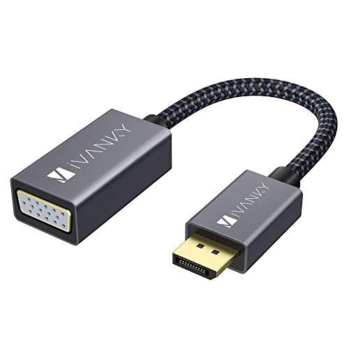 iVANKY DisplayPort auf VGA Adapter, Nylon geflochten & 24K Vergoldet DP auf VGA Adapter, Male zu Female Konverter für PC, Laptop, Monitor, Projector, HDTV, und mehr