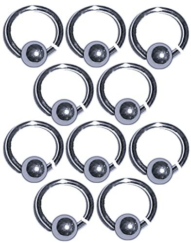10 Stück Fingernagel-Piercing: Ring mit Kugel, 6mm, Rhodium-Silber beschichtet - offener Ring