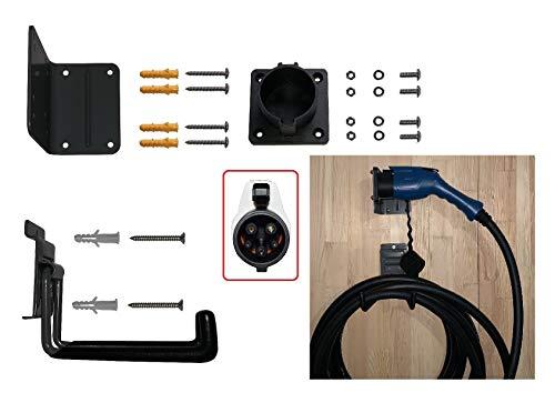 US SAE J1772 Typ 1 Wandhalterung Dock Schwerlast mit Kabel Haken Schrauben für EVSE EV PHEV Ladegerät Elektrofahrzeug Mobile Ladestation