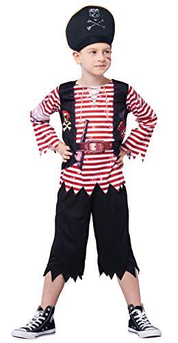 IKALI Pirat kostüm für Kinder Jungen, Schädel Gekreuzte Knochen Gestreiften Karibik Freibeuter Outfit, Captain Jack Spiel Spielen Anzug