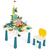 Hadwin 7 in 1 Multi-Activity Table and Chair Set Height Adjustable Kids Activity Table Set with Chair and 144 Pcs Building Blocks, Toy Storage/Building Construction Table for Boys Girls
