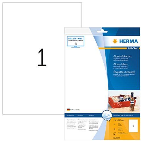 HERMA 8895 Hochglanz Etiketten für Tintenstrahldrucker DIN A4 (210 x 297 mm, 10 Blatt, Papier, glänzend) selbstklebend, bedruckbar, permanent haftende Inkjet Aufkleber, 10 Klebeetiketten, weiß