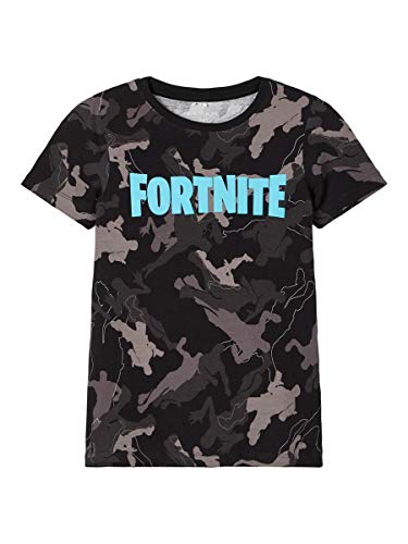 Name It Nkmfortnite Grey SS Top Box LIC T-Shirt, Nero, 146-152 Bambino