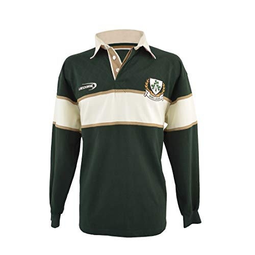 Lansdowne Polo Shirt with Cream & Gold Stripe and Ireland Shamrock Crest (Green, Large)