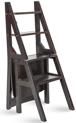 GDFEH Scalettatura pieghevole in legno Scaletta Creativa Ladder Dual-Usa Ladder a quattro fasi Ladder ascendente 40 × 46 × 90 cm per uffici Kitchen Home Uso (Color : Black)
