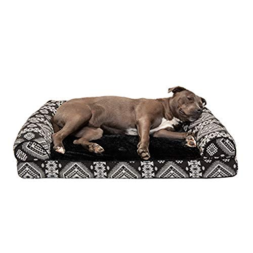 Furhaven Pet Dog Bed - Orthopedic Plush Kilim Southwest Home Decor Traditional Sofa-Style Living Room Couch Pet Bed with Removable Cover for Dogs and Cats, Black Medallion, Large