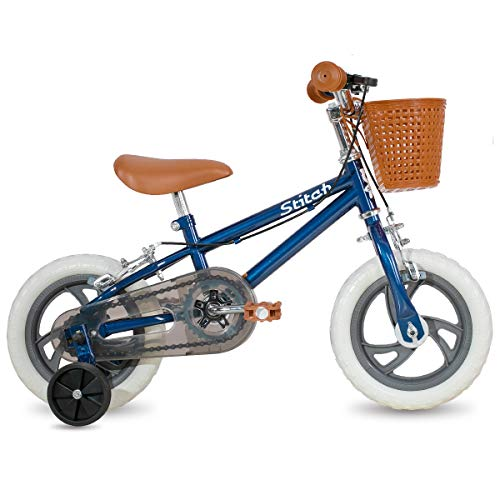 STITCH Bicicleta infantil de 12 pulgadas para niñas y niños con ruedas de entrenamiento y neumáticos flotantes y cestas, verde, rosa y azul, color azul, tamaño 30,5 cm (12')