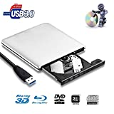 External 3D Blu Ray CD DVD Drive,Xglysmyc Portable USB3.0 Blu Ray CD/DVD+/-RW Burner Player Writer Reader Rewriter for PC Netbook Laptop Desktop with Mac OS Windows XP/7/8/10/Vista-Silver