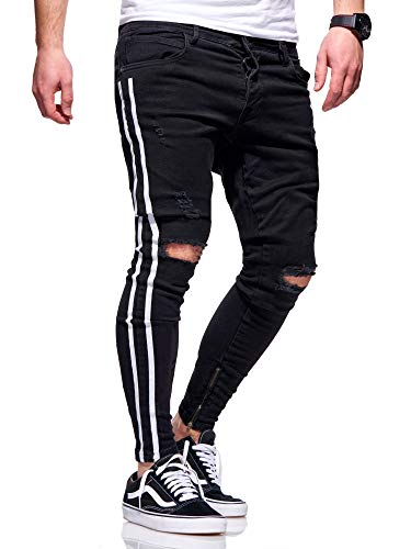 behype. Herren Destroyed Stretch Jeans-Hose im Used-Look mit Side-Stripe 80-4069 Schwarz (4167) W32/L32