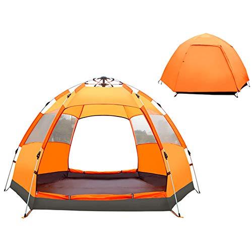 CHENGREN Tente ExtéRieure 6-Angle, EntièRement Automatique Tente Double Hydraulique Double Antipluie, Tente Camping en Plein Air, Coupe-Vent Et Protection Contre Le Soleil Grand Espace Auvent,Orange