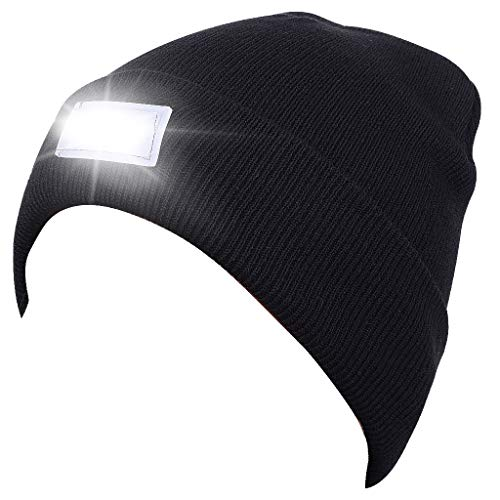 SnowCinda Unisex 5 LED Knitted Flashlight Beanie Hat/Cap for Hunting, Camping, Grilling, Auto Repair, Jogging, Walking, or Handyman Working - One Size Fits Most (Black), Best gift for hikers