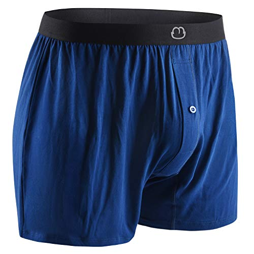 Bamboo Mens Boxers for Men Underwear Shorts - Soft Loose Comfortable Breathable Blue (Medium)