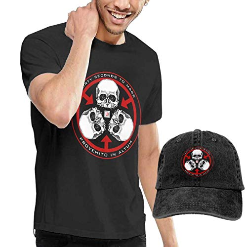 Thimd Herren T-Shirt und Kappe Schwarz, 30 Seconds to Mars T Shirt and Washed Denim Baseball Dad Cap Black