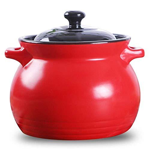 WEHOLY Casserole à gaz à Foyer Ouvert Casserole Multifonction/ménage Résistance à Haute température Céramique Ragoût/Température de Verrouillage Ragoût Viande Santé Pierre Pot (Taille: 6L)
