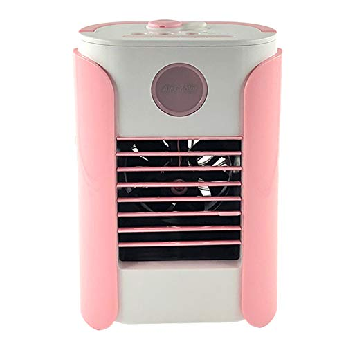 HUQUAN Portable Air Cooler, 3 in 1 Function Rechargeable Water-Cooled Air Conditioner Portable Mini Air Cooler Humidifier Cooling Fan for Home Office