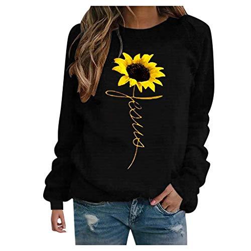 HOTHONG Sweat-Shirt T-Shirt Imprimé Pullover Chemisier Femme Haut Col Rond Chemisiers Lache Blouse Mode Tops Shirts Manches Longues Casual Sweater