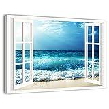 quadri l&c italia quadro mare e finestra 1 - stampa su tela canvas da parete con paesaggio marino 100 x 70 soggiorno camera da letto cucina arredamento ufficio