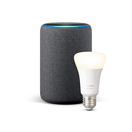 Echo Plus (2.ª generación), tela de coloración antracita + Philips Hue White Bombilla LED E27