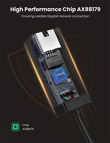 UGREEN USB Netzwerkadapter USB 3.0 auf RJ45 Gigabit Ethernet Adapter für MacBook Ultrabook,Windows 10, 8.1, 8, 7, Vista, XP usw.(Schwarz)