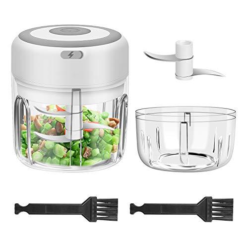 Maexus 2 In 1 Elektrisch Zerkleinerer(250ml & 100ml), Elektrisch Zwiebelschneider mit 2 Stk. Reinigungsbürsten Mini Knoblauchhacker Zerkleinerer Küche Elektrisch für Fleisch, Obst, Gemüse
