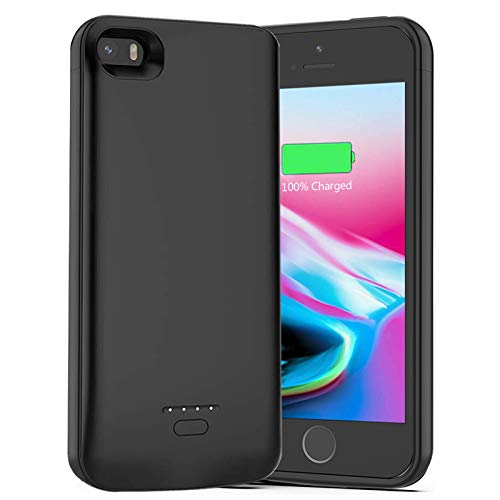 Battery Case for iPhone 5 /5S /SE, 4000mAh Rechargeable Portable Power Charging Case for iPhone 5 5S SE (4.0 inch) Ultra Thin Extended Battery Pack Charger Case -Black [ Not Compatible iPhone 5C ]