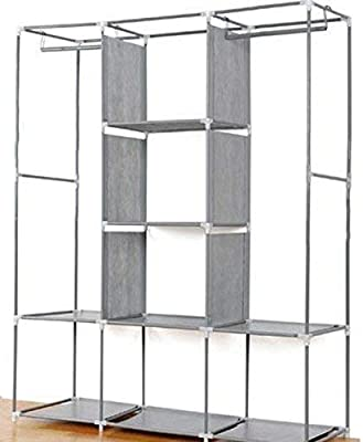 S K AND COMPANY Non-Woven Stainless Steel Folding Wardrobe (110x46x176 cm, Multicolour)