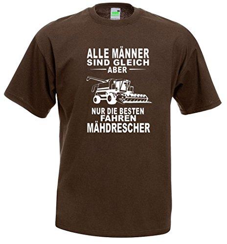 T-Shirt | Mähdrescher | Braun | Größe L