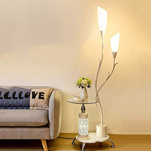 Floor moderne lamp heldere verlichting staande lamp, met glazen planken, 2 Light White Acryl Lampekap, Metalen decoratie Stands Lamp For Living Room Slaapkamer, H171CM Vloerlamp Plank Lamp LED
