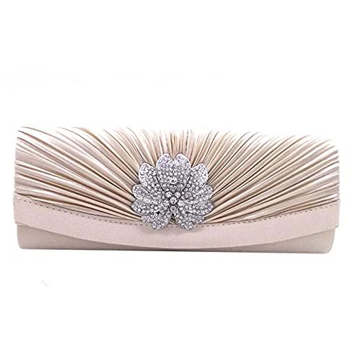 MEGAUK Damen Satin Clutch Strass Glitter Bankett Handtasche Kleidertasche Umschlag Envelope Tasche Unterarmtasche mit Kette für Hochzeit Wedding Ball Bankett Prom Party