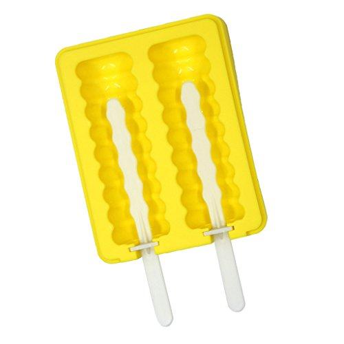joyMerit Ghiaccio Muffa Ghiaccio Muffa Ghiacciolo Muffa Silicone Congelatore Succo Maker Dolci Prelibatezze - Giallo, rotondo