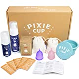 Pixie Menstrual Cup Starter Kit - Most Comfortable Authentic Silicone Period Cup - Best Removal Stem - Tampon and Pad Alternative - Every Cup Purchased One is Given to Woman in Need! - Gift Packaging