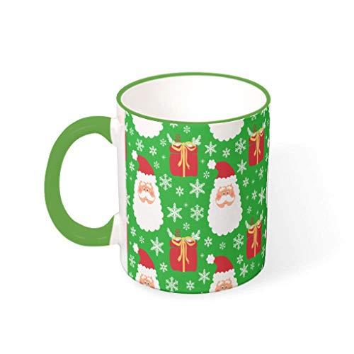 NC83 11 Unze Christmas Flower Wasser Kaffee Becher mit Griff Porzellan Personal Becher - Urlaub Weihnachten Geschenk, Geeignet für Restaurant verwenden Irish Green 330ml