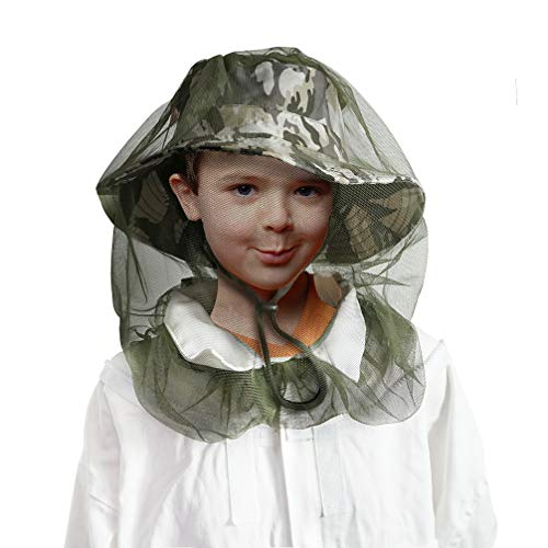 Luwint Kids Mosquito Net Fishing Hat Insect Bug Repellent Netting Protection Sun Cap for Girls Boys Gardening Camping Hiking (White Gray)
