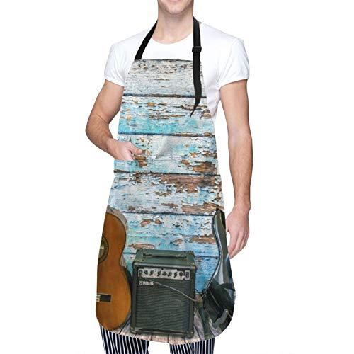 Ajustable Colgante de Cuello Personalizado Delantal Impermeable,Guitarra musical en coloridos tablones de madera envejecidos pintados Música country rústica,Babero de Cocina Vestido con 2 Bolsillos