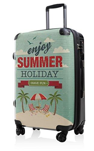 HAUPTSTADTKOFFER - Style Hartschalenkoffer Koffer Trolley Reisekoffer Reisegepäck, individuell gestalten, Geschenkidee, Design: Retro Sommer Strand