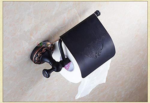 Tenedor de papel higiénico Latón antiguo Negro Acabado creativo baño montado en la pared Flor tallada latón papel higiénico del sostenedor del tejido de platos rollo con jabón Tenedor de papel de roll
