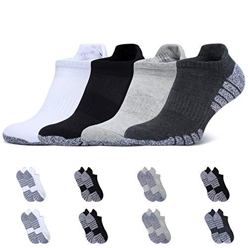 YouShow Sneaker Socken Herren Damen Baumwolle Atmungsaktiv Sport Gepolsterte Lauf 8 Paar Schwarz Weiß Hellgrau Dunkelgrau 43-46