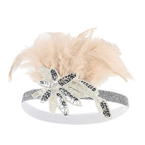 Lazzboy Kostüm Accessoires Frauen Hut Gurt Blume Feder Partyhut Haarspange Stirnband Zubehör Damen 20er Jahre Stil Haarband Great Gatsby Fasching (Rosa)