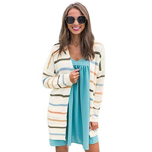 SYXMSM Cárdigan de punto para mujer con rayas de color con bolsillos, chaqueta de punto de longitud media para mujer (color: A, tamaño: grande)