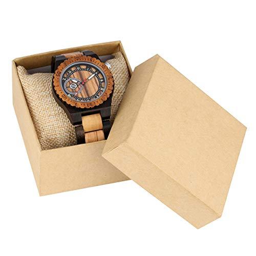 RWJFH Reloj de Madera Relojes para Hombre Reloj de Cuarzo de Madera Natural Cierre Plegable Reloj para Hombre Reloj con números Romanos Relojes de Madera, Modelo 2 con Caja