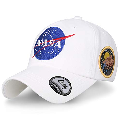 ililily NASA Meatball abgebildet im Logo Stickerei Baseball Cap Apollo 13 Flicken Trucker Cap Hut, White