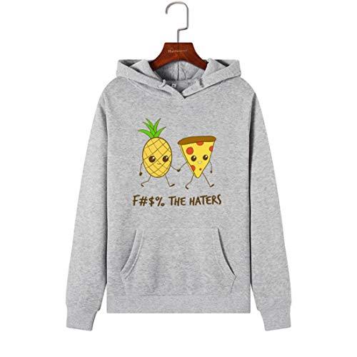 QDTGG Frauen Hoodies Sweatshirts Hooded Sweatshirt Ananas Pizza Print Herbst Winter Pullover weibliche Hoodie Tops Kleidung Outwear, grau, S