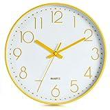 LENRUS Reloj de pared de 30 cm, moderno, de cuarzo, silencioso, con cifras árabes, sin tictac, decoración del hogar, color amarillo