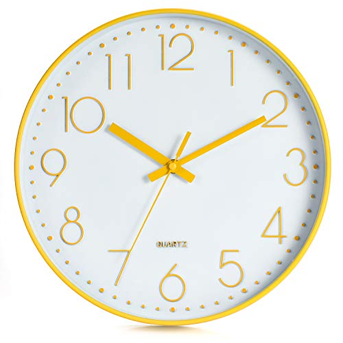 LENRUS 12 Zoll 30cm Wall Clock Modern Quartz Lautlos Wanduhr mit Arabisch Ziffer Wanduhren Ohne Ticken Wohnaccessoires Deko (Gans Gelb)