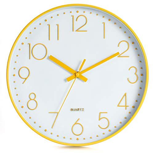 LENRUS 12 Zoll Wall Clock Modern Quartz Lautlos Wanduhr mit Arabisch Ziffer Wanduhren Ohne Ticken Wohnaccessoires Deko (Gans Gelb)