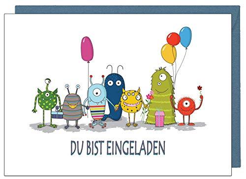 the lazy panda card company 15 Einladungskarten Kindergeburtstag: Monster Party Geburtstagseinladungen Einladungen Geburtstag Kinder Mädchen (15 Karten mit 15 passenden Umschlägen Briefumschlägen)