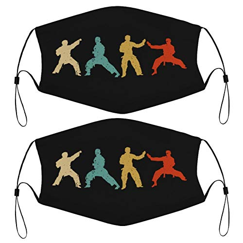 Retro Karate Judo Silhouette Martial Arts Kids Face Mask Set of 2 with 4 Filters Washable Reusable Adjustable Black Cloth Bandanas Scarf Neck Gaiters for Adult Men Women Fashion Designs