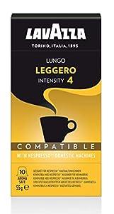 Lavazza Cápsulas de Café Compatibles con Nespresso, Lungo Leggero, 100% Arábica, Paquete de 10 Cápsulas